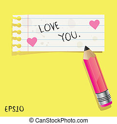 nuta, ty, papier, miłość