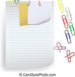 nuta, zacisk, papier, notatka, wektor