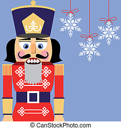 Nutcracker background with snowflakes, no gradients, full scalable vector graphic.