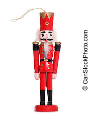 Nutcracker christmas decoration on white background