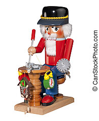 Nutcracker clock maker, isolated