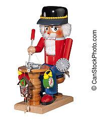 Nutcracker clock maker, isolated