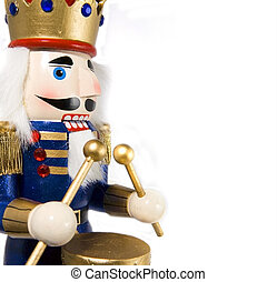 nutcracker - drummer ncracker on white background; space fo ...