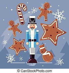 nutcracker general with ginger cookie and cane vector illustration design