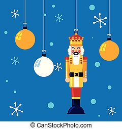 nutcracker king toy hanging with balls of christmas