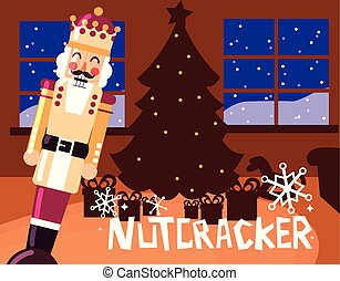 nutcracker king with tree christmas