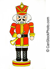 Nutcracker Soldier with Bugle - A nutcracker soldier dressed...