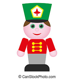 nutcracker - wooden toy soldier in red uniform with green...