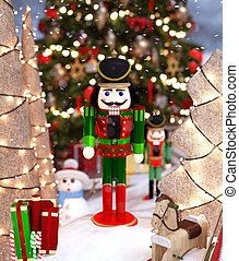 nutcrackers, seizoen, verfraaide, speelbal, kerstmis