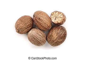 Nutmeg isolated on white background. Top view