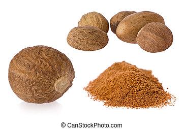 Nutmeg (Myristica fragrans) - Composite of nutmeg seeds and...
