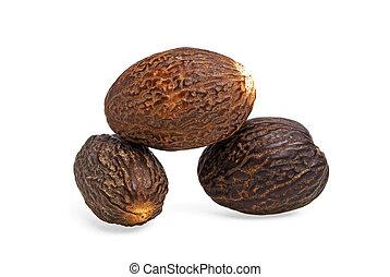 Nutmeg on a white background