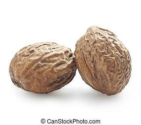 nutmeg  - Two nutmeg on a white background