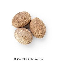 nutmegs, entier, trois, séché
