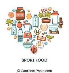 nutrição, ícones, saudável, cartaz, fintess, coração, alimento, vetorial, desporto, dietético