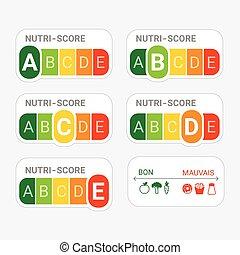 nutrição, 5-colour, sistema, france., label., nutri-score