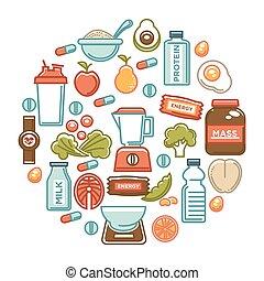 nutrição, alimento, cartaz, dieta, esportes, saudável, icons., condicão física