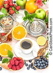 nutrição, café, saudável, armando, honey., granola, tabela, pequeno almoço, croissants