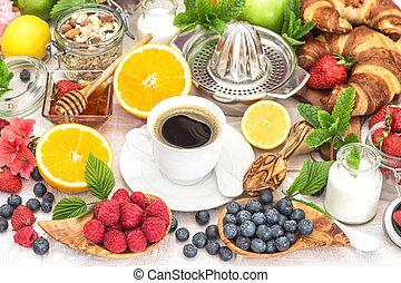 nutrição, café, saudável, armando, muesli, honey., tabela, pequeno almoço, croissants