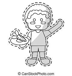 nutrição comida, crianças, desenho