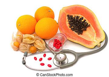 nutrição, conceito, fruta, suplemento, estetoscópio, pílula