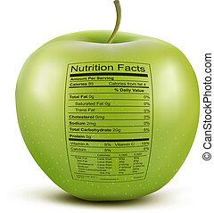 nutrição, conceito, maçã, saudável, alimento., label., fatos...