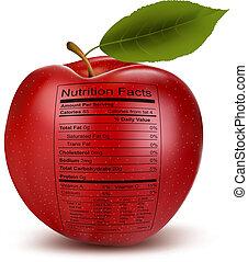 nutrição, conceito, maçã, saudável, alimento., label., fatos, vector.