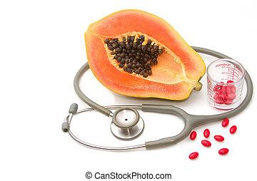 nutrição, conceito, papaia, fruta, suplemento, estetoscópio, pílula