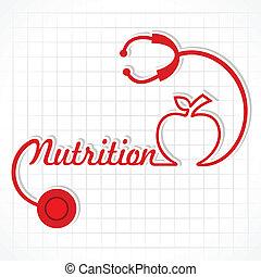 nutrição, fazer, estetoscópio, palavra