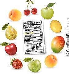 nutrição, fruta, vetorial, etiqueta, fatos, fresco