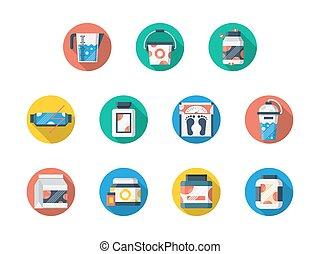 nutrição, jogo, ícones, vetorial, condicão física, desporto, redondo