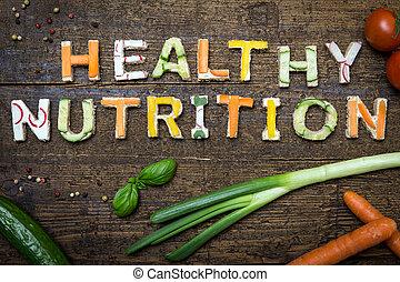 nutrição, letras, saudável, texto, construir, vegetal,...