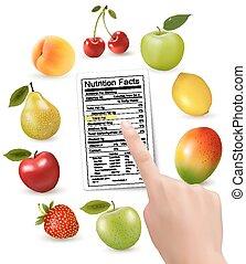 nutrição, mão., fruta, etiqueta, vetorial, fatos, fresco