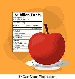 nutrição, maçã, etiqueta, conteúdo, fruta, modelo, fatos