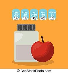 nutrição, maçã, informação, adesivo, vidro, fruta, garrafa, fatos