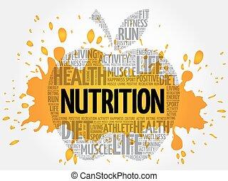 nutrição, palavra, maçã, nuvem