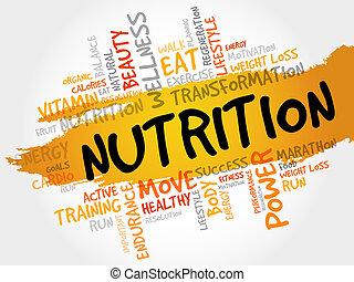 nutrição, palavra, nuvem