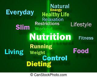 nutrição, palavras, mostrando, alimento saudável, vitaminas,...