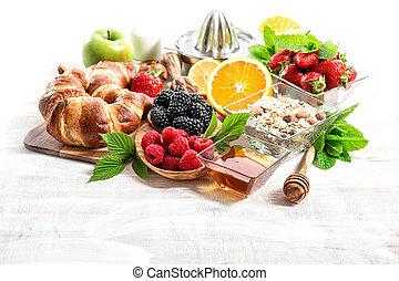 nutrição, saudável, berries., armando, muesli, tabela, fresco, pequeno almoço, croissants