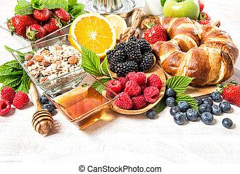 nutrição, saudável, berries., muesli, fresco, pequeno almoço, croissants