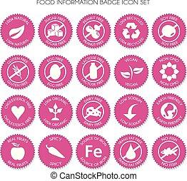 nutrição, vetorial, jogo, etiqueta, ícone