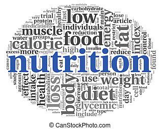 nutrición, concepto, etiqueta, nube