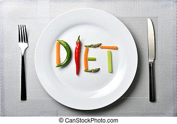 nutrición, concepto, sano, vegetales, dieta, escrito