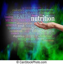 nutrición, en, el, palma, de, su, mano