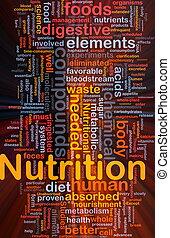 nutrición, encendido, concepto, salud, plano de fondo