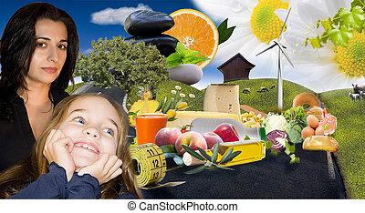 nutrición, familia