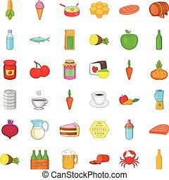 nutrición, iconos, conjunto, caricatura, estilo