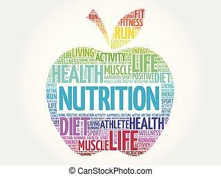 nutrición, nube, palabra, manzana