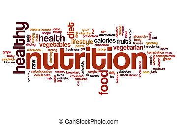 nutrición, palabra, nube