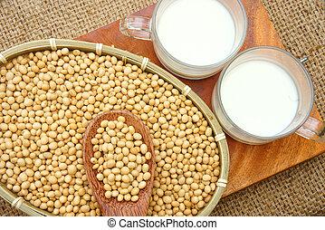 nutrición,  soymilk, bebida, soja